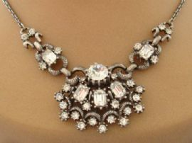 1940s Signed CORO Necklace - Vintage Diamante Necklet from USA (SOLD)